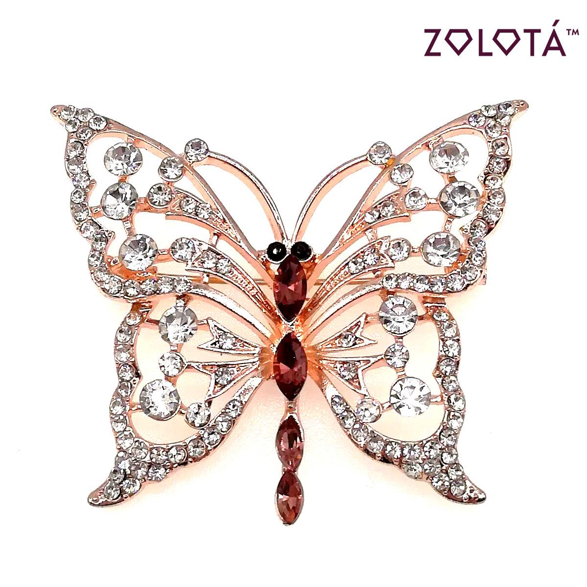"""Брошка """"Бабочка"""" с темно-розовыми и белыми фианитами (куб. цирконием), в позолоте, ЗЛ00278 (1)"""