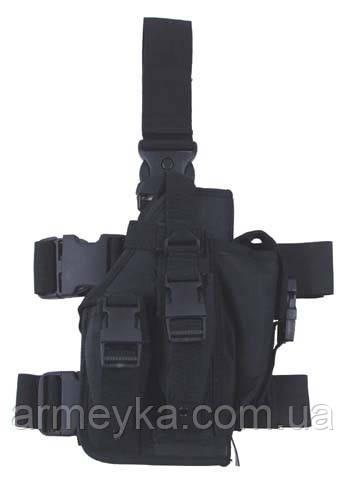 Пистолетная кабура  набедренная с доп. подсумками, черная