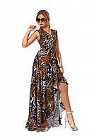 Романтическое, длинное платье в пол из софта, принт змеи, р. 42,44,46