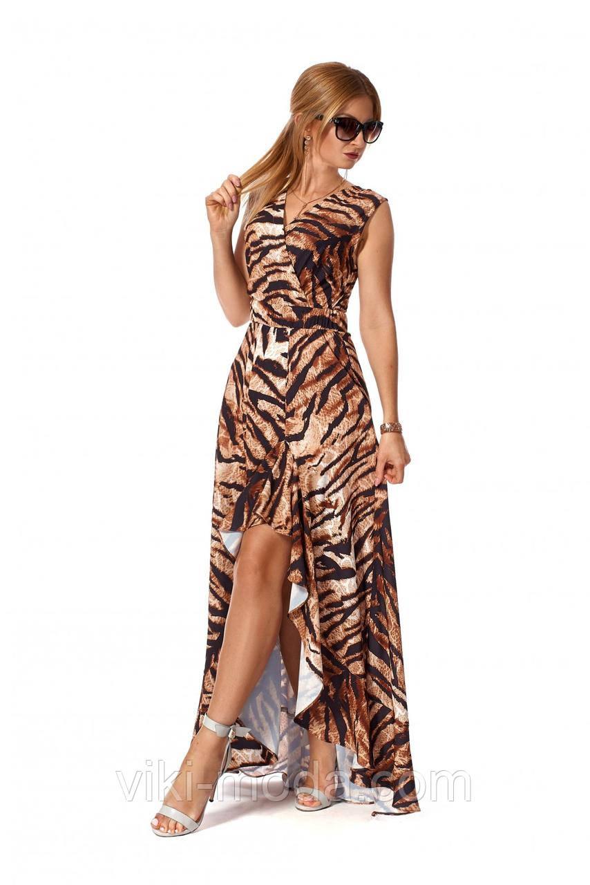 Романтическое, длинное платье в пол из софта, принт тигра