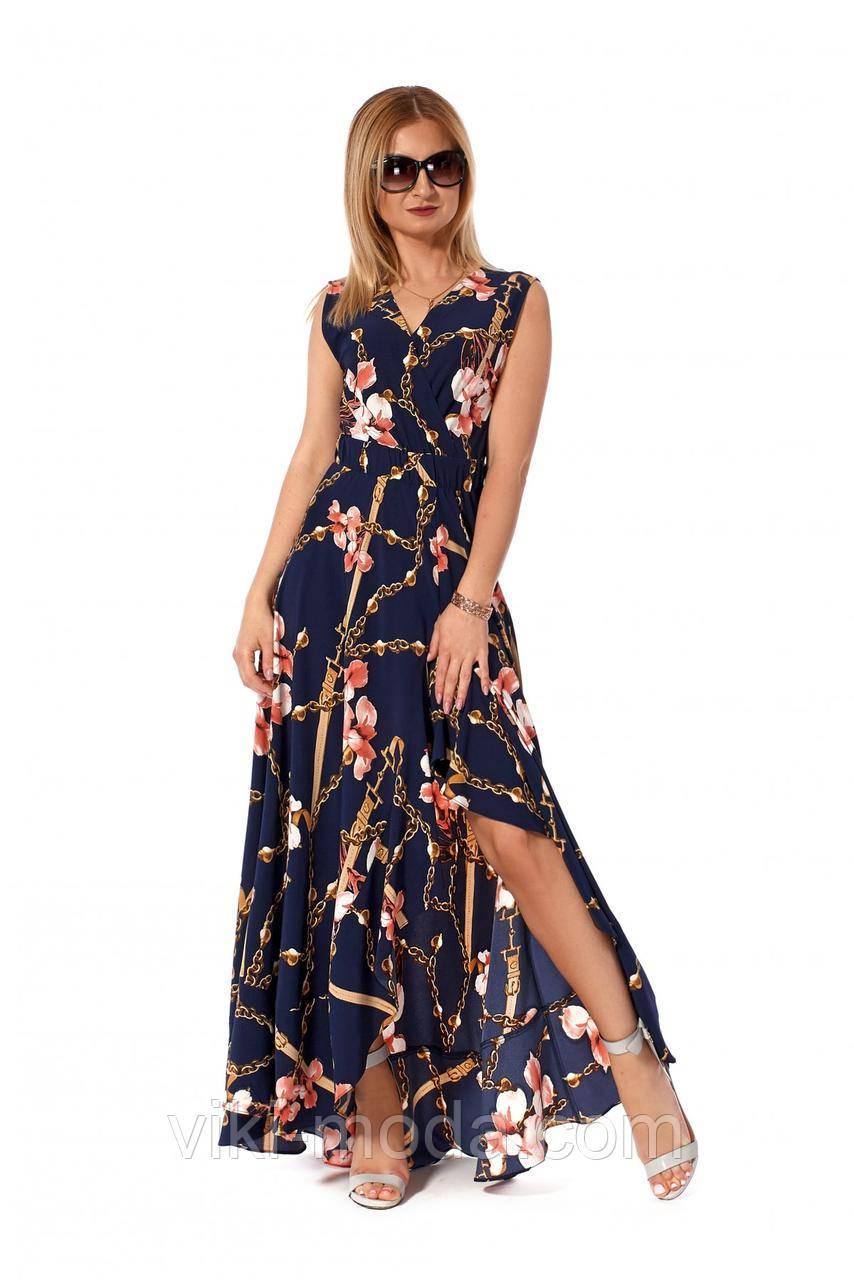 Романтическое, длинное платье в пол из софта, темно-синего цвета