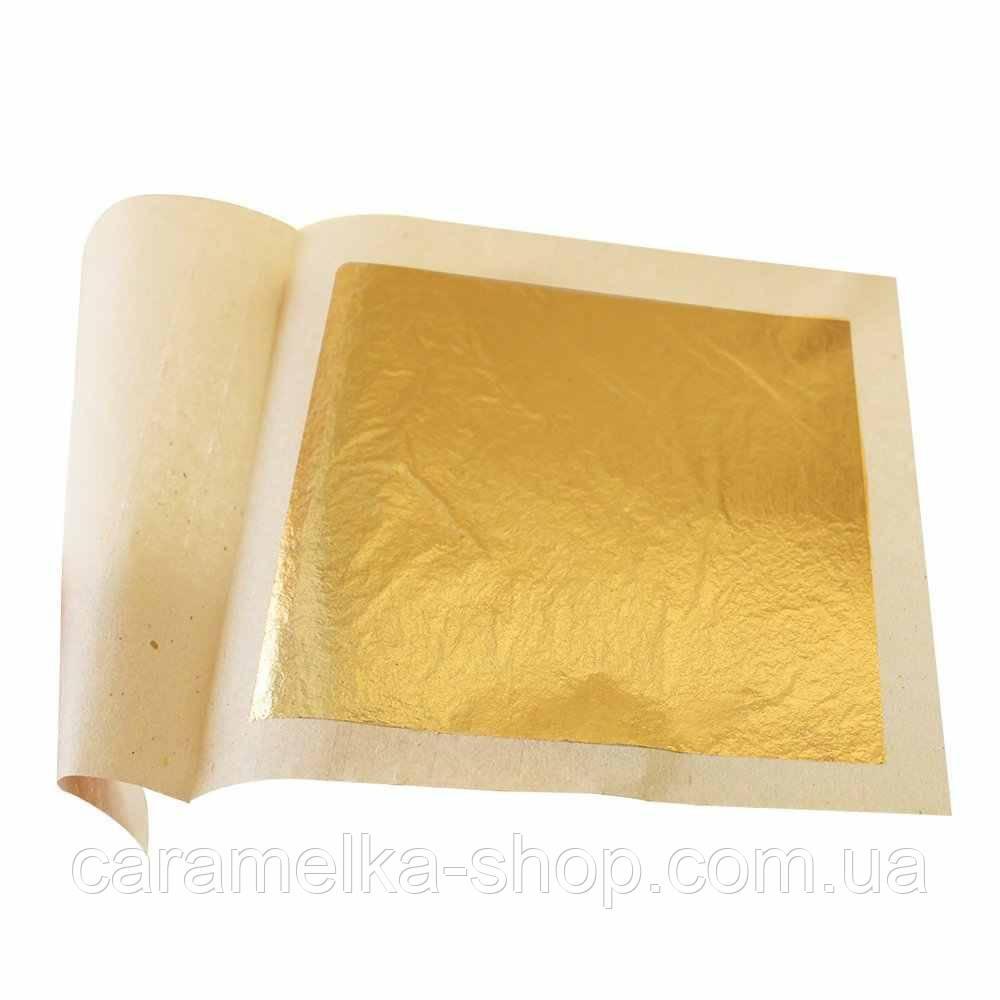 Сусальне золото, 14*14см, золото на торт, золоті листи, харчове золото