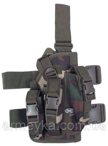 Пистолетная кабура  набедренная с доп. подсумками, woodland