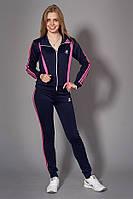 Женский молодежный спортивный костюм. Код модели КС-13. Цвет темно синий с розовым.