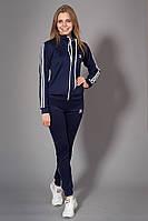 Женский молодежный спортивный костюм. Код модели КС-13. Цвет темно синий с белым.