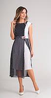 Платье Sandyna-13580-8 белорусский трикотаж, темно-синий+крупные горохи, 52
