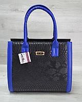 Женская сумка Бочонок черная рептилия с синим гладким, женская недорогая сумочка, сумочки женские 2019, модная женская сумочка