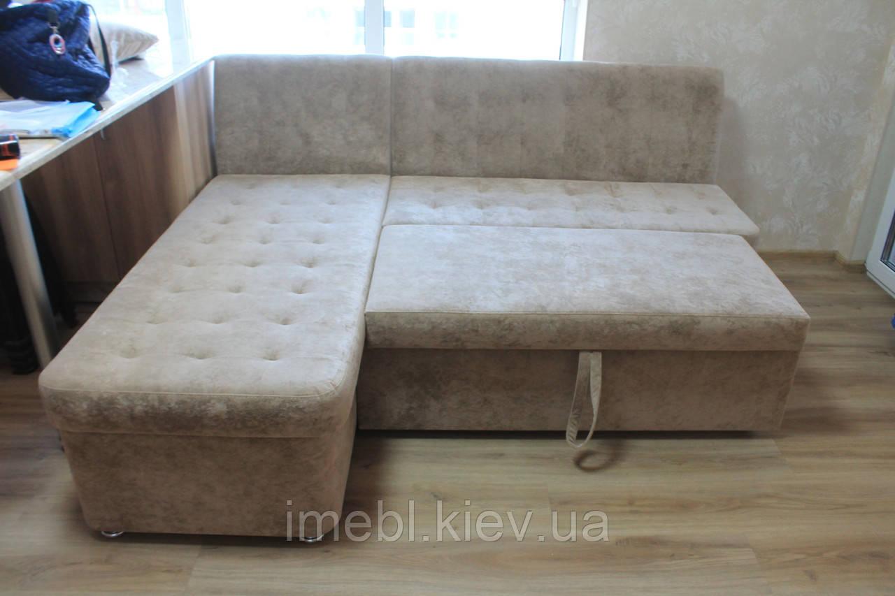 Угловой кухонный диван со спальным местом и ящиком  (Серый)