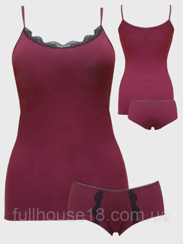 f08d7ead6bd3e Женский комплект, майка и шорты с кружевом, комплект для сна, бордовая майка  и