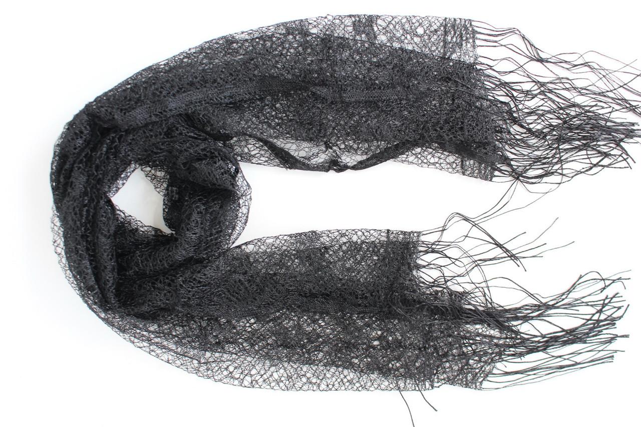 Шарф паутинка ритуальный черный  101003