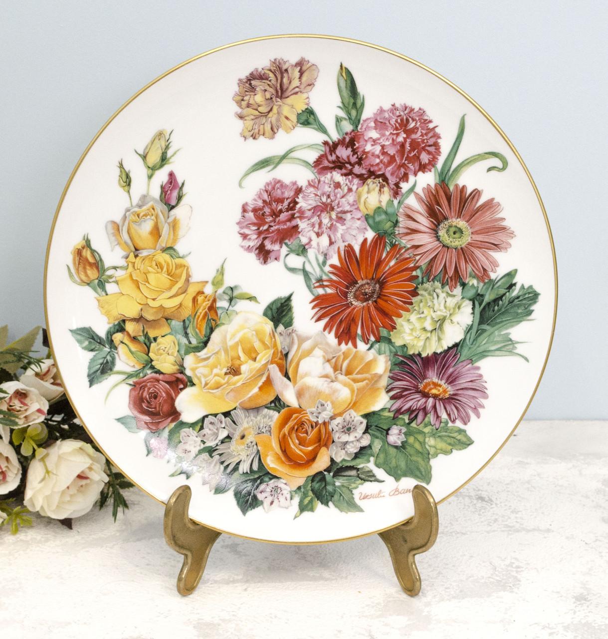 Фарфоровая настенная тарелка, цветочный орнамент, Ursula Band, Grande Finale, 1990 год