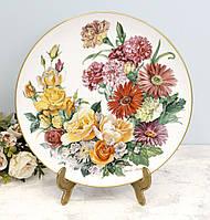 Фарфоровая настенная тарелка, цветочный орнамент, Ursula Band, Grande Finale, 1990 год, фото 1