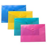 Папка-конверт А4 прозрачная на кнопке, ассорти, диагональ