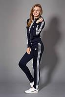 Женский молодежный спортивный костюм. Код модели КС-14. Цвет темно синий с белым.