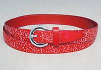 Женский красный кожаный узкий ремень , фото 1