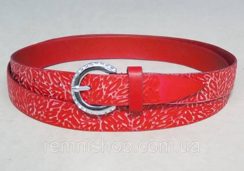 Женский красный кожаный узкий ремень