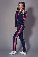 Женский молодежный спортивный костюм. Код модели КС-14. Цвет темно синий с розовым.