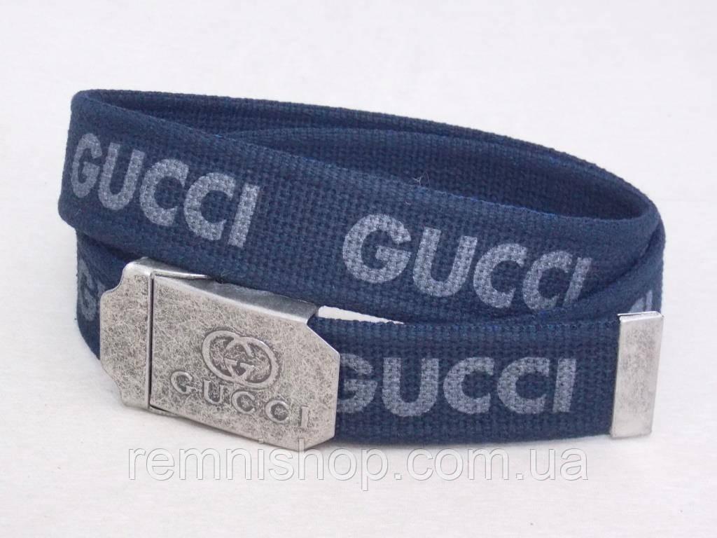 Тканевый синий ремень Gucci в коробке