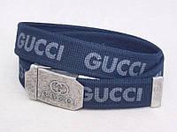 Тканевый синий ремень Gucci, фото 1