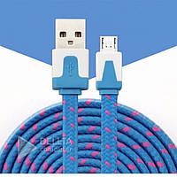 Кабель USB для зарядки и синхронизации V8 (micro) ткань плоский, синий, OTG USB - micro USB, USB кабель