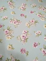 """Обои флизелиновые  """"Розы - классика"""" в спальню нежно голубые с розовым и бордо  1 Х 10 – Палитра 9025-66"""