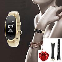 Женские умные смарт часы фитнес браслет для спорта SMART WATCH GOLD + ПОДАРОК черный ремешок к часам