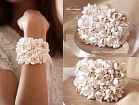 """Свадебный браслет """"Воздушный айвори"""". Браслеты с цветами из полимерной глины для подружек невесты"""