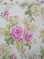 """Обои флизелиновые  """"Розы - классика"""" в спальню розовые с салатовым 1 Х 10 – Палитра 9024-15"""