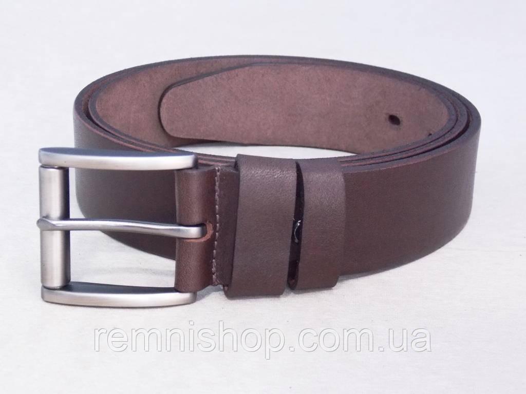 Мужской универсальный кожаный ремень коричневый
