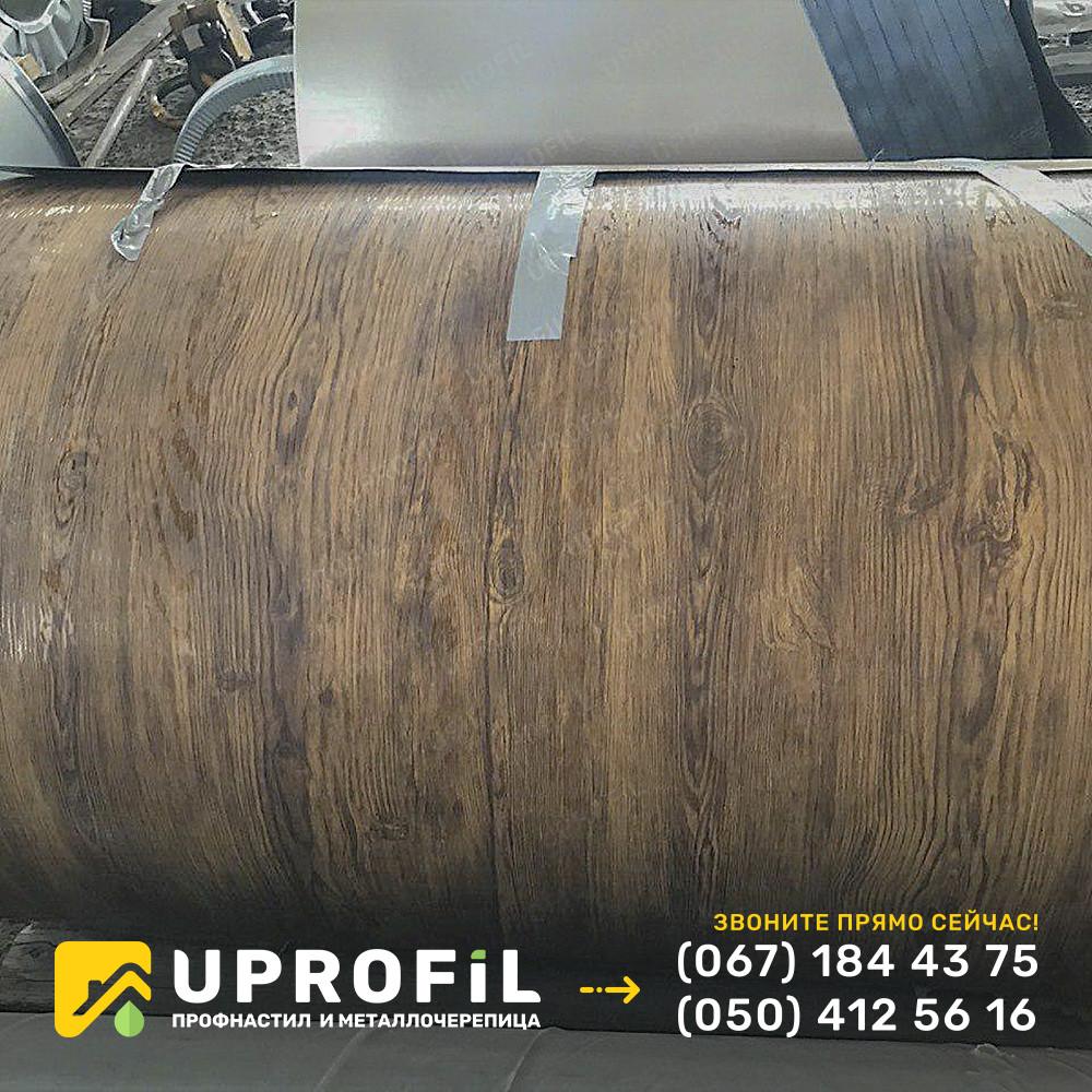 Профнастил двухстороннее дерево Ольха 3д темная / RAL 8003 0.45 мм