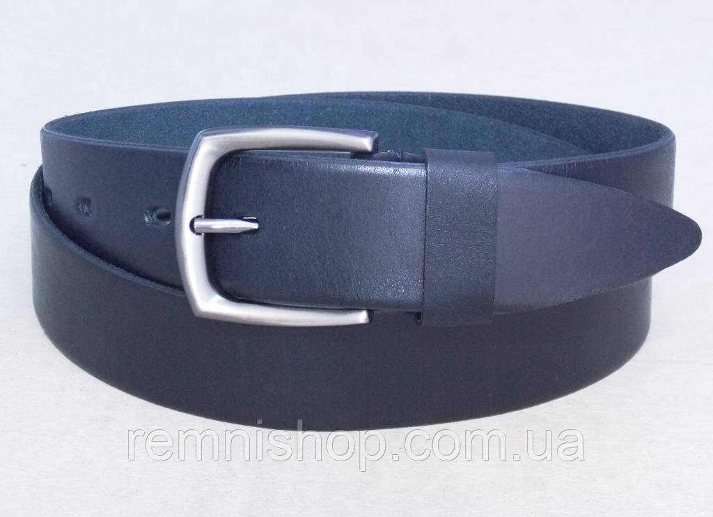 Мужской кожаный синий ремень + подарочная упаковка