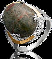 Женское серебряное кольцо с золотом Юрьев 217к 17