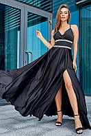 Нарядное чёрное платье женское, вечернее, выпускное, праздничное, молодёжное, элегантное, макси
