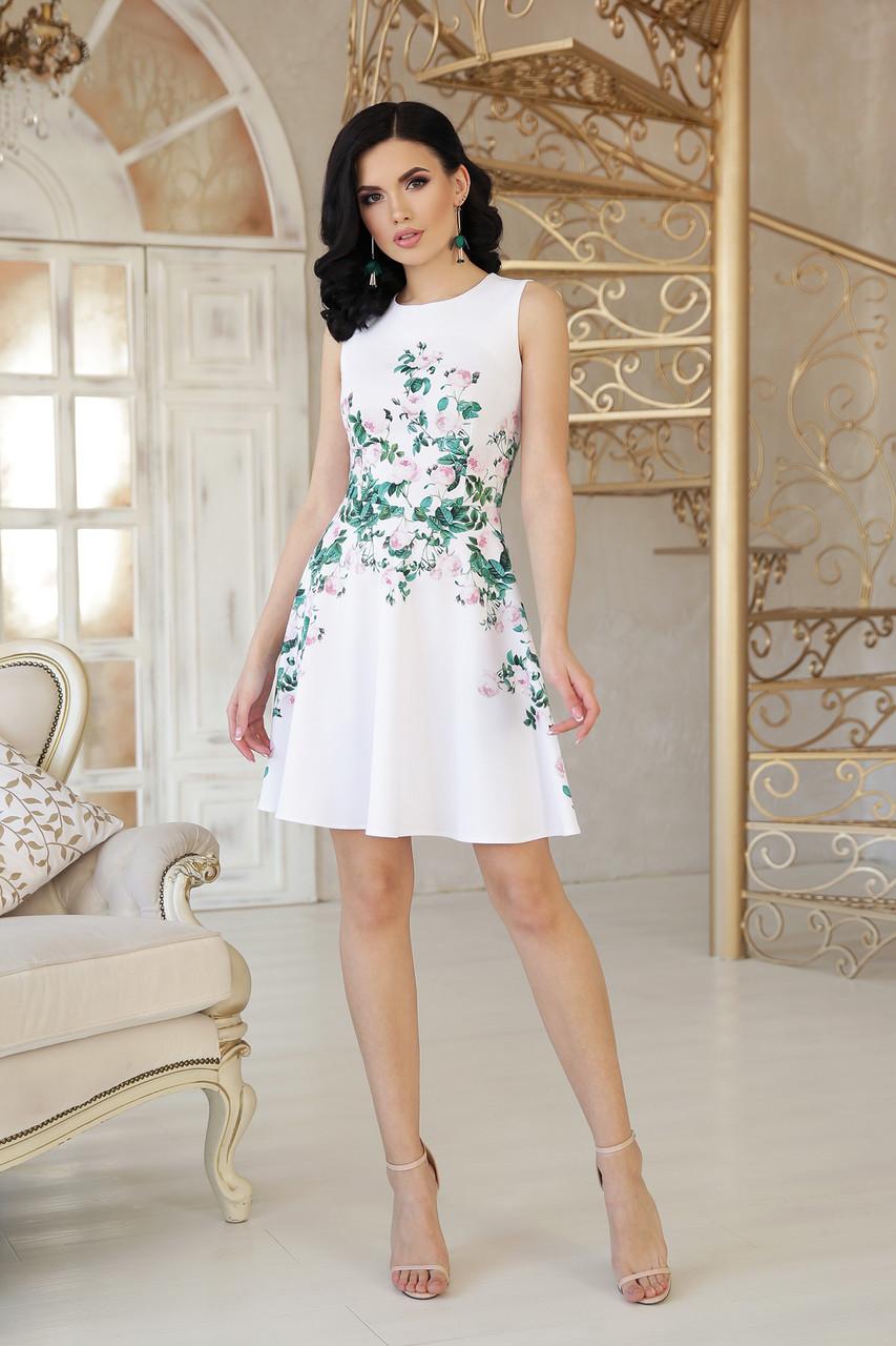 Женское короткое нарядное платье на лето маленькие розы платье Альба б/р