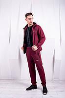 Мужской бордовый спортивный костюм Reebook | Стильный мужской спортивный костюм хлопок весна-осень, фото 1