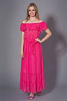 Летнее шифоновое макси платье в пол. Код модели Л-29-25-14. Цвет малиновый.