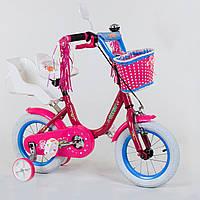 """Двухколесный детский велосипед Corso 12"""" МАЛИНОВЫЙ, звоночек, корзинка и сидениее для куклы деткам 3-4 года"""