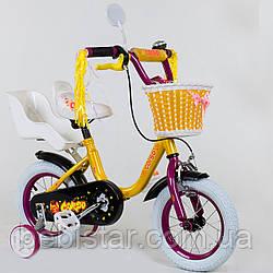 """Двухколесный детский велосипед Corso 12"""" ЖЕЛТЫЙ, звоночек, корзинка и сидениее для куклы деткам 3-4 года"""
