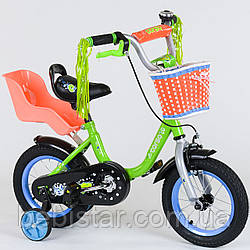 """Двухколесный детский велосипед Corso 12"""" ЗЕЛЕНЫЙ, звоночек, корзинка и сидениее для куклы деткам 3-4 года"""