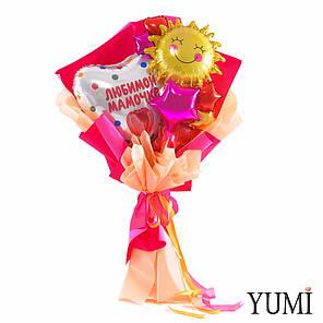 Букет: Сердце Любимой мамочке тюльпан, Солнышко, мини роза, разноцветные мини звезды и сердца, фото 2
