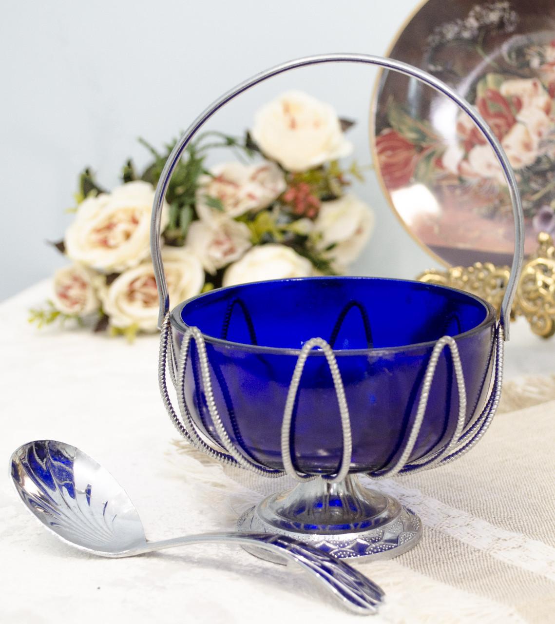 Винтажная сахарница, вазочка для варенья и пр., кобальтовое стекло, хром, Англия
