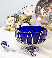 Винтажная сахарница, вазочка для варенья и пр., кобальтовое стекло, хром, Англия, фото 1