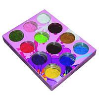 Песок цветной для дизайна ногтей YRE DB-00, бархат в наборе 12 шт, бархатный песок для ногтей,  бархатный маникюр, глитер - песок