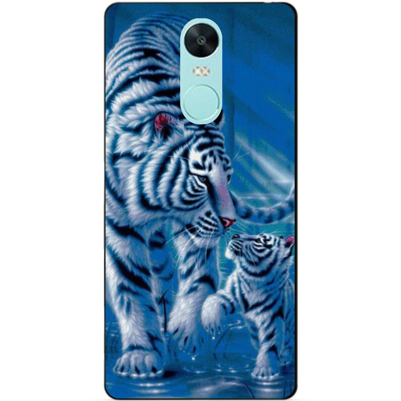 Силиконовый чехол бампер для Xiaomi Redmi Note 4x с рисунком Тигры