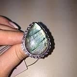 Лабрадор кольцо капля с натуральным лабрадоритом в серебре 21,5 размер Индия, фото 6