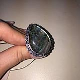 Лабрадор кольцо капля с натуральным лабрадоритом в серебре 21,5 размер Индия, фото 7
