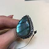 Лабрадор кольцо капля с натуральным лабрадоритом в серебре 21,5 размер Индия, фото 4