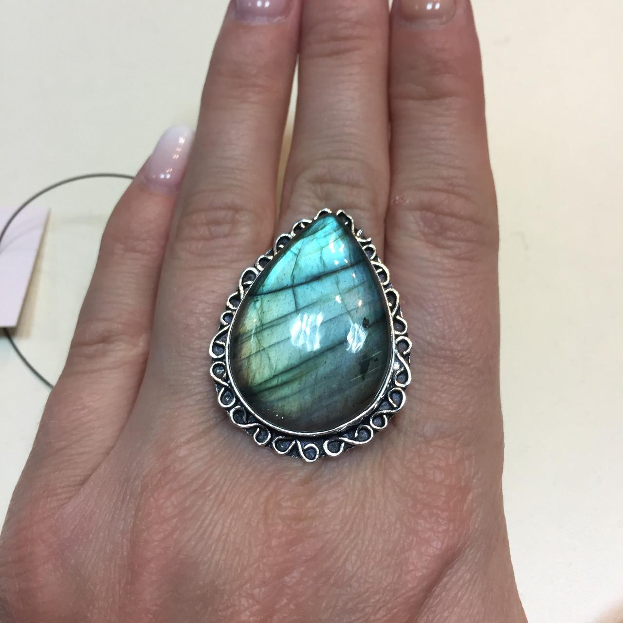 Лабрадор кольцо капля с натуральным лабрадоритом в серебре 21,5 размер Индия