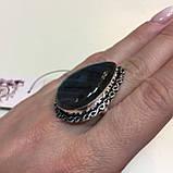 Лабрадор кольцо капля с натуральным лабрадоритом в серебре 21,5 размер Индия, фото 2