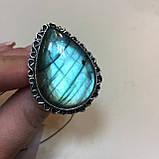 Лабрадор кольцо капля с натуральным лабрадоритом в серебре 21,5 размер Индия, фото 3